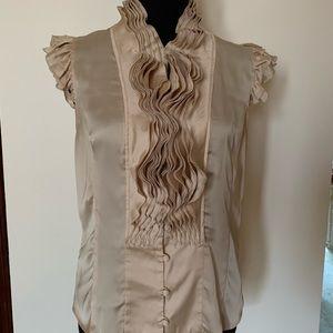Lapis creme silky ruffled blouse